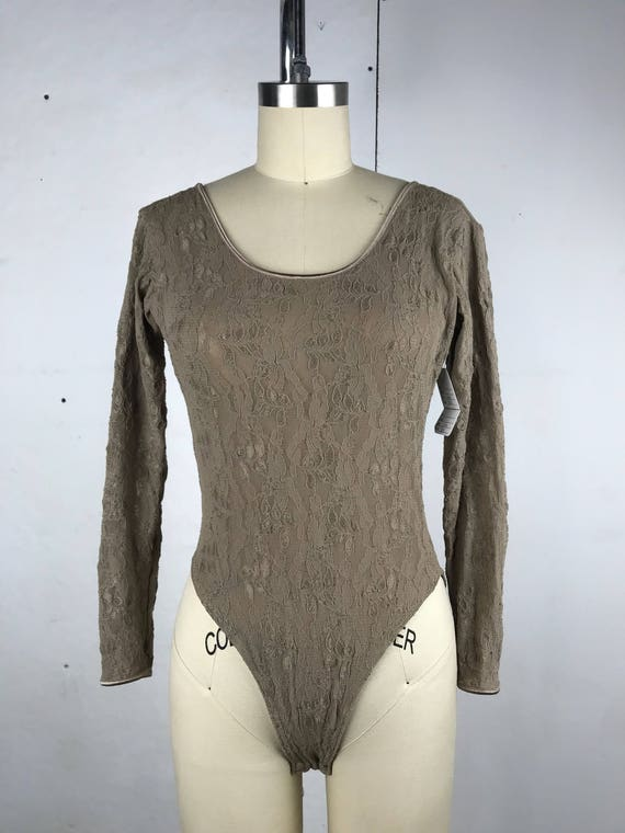 90s Taupe Lace Bodysuit