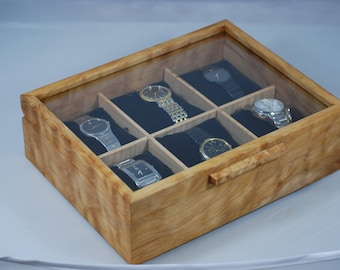 Watch Box with glass top - Holds 6 watches - Quilted Maple