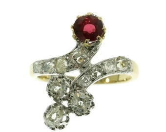 ON SALE Antique crossover ring diamonds ruby 18 karat yellow gold 1.20ct old brilliant cut diamonds 0.70ct natural ruby