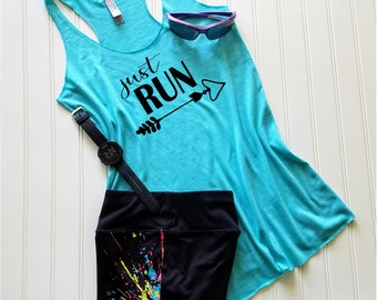 Running tank top, Ladies gifts, Runners gifts, Gym tank top, Womens tank top,  Fitness tank top, Workout Tank Top, Just Run, FREE Shipping!!