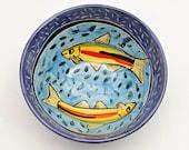 Medium Ceramic Fish Bowl - Medium Serving Bowl - Gift for Him - Cereal Bowl - Pottery Bowl, Majolica Bowl - Pisces the fish - Fisherman Gift