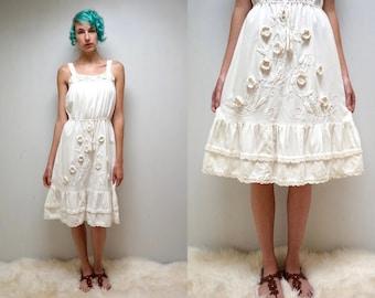 70s Crochet Flower Dress  //  Mexican SunDress  //  Cotton SunDress  //   THE MOJITO