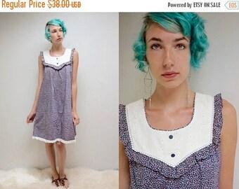sale 25% off - 70s Calico SunDress  //  Muumuu Dress  //  Eyelet Lace Dress  //  THE SANDY