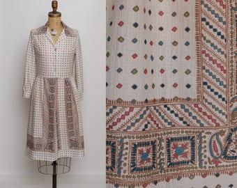 70s vintage shirtwaist dress M