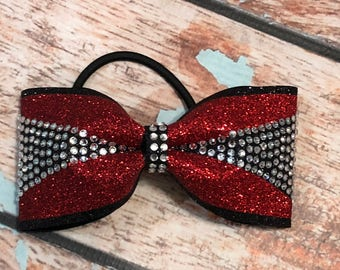 Small Red And Black Rhinestone Glitter Tailless Cheer Bow