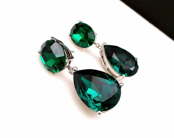 bridal jewelry bridesmaid gift wedding prom pageant party swarovski teardrop emerald green crystal fancy drop and oval rhodium post earrings