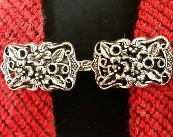 Sweater Clip Silver Tone Filigree Short Strong Link Handmade in Australia