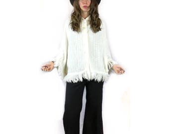 Vintage 60s 70s folk sweater knit fringe PONCHO cape Wrap by Bel Ami Originals // One Size