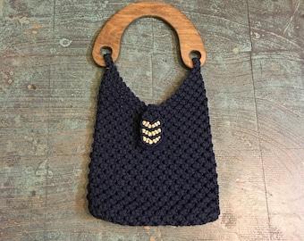 Vintage handmade 60s 70s macrame crochet shoulder bag purse with wood handle