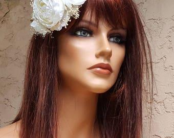 Floral Wreath Crown,  Flower Crown,  Bridal Crown,  Wreath Crown,  Bridal Crown,  Wedding Crown, White Flower Crown,  Bridal Wreath Crown