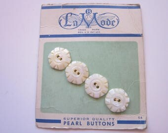 4 vintage carved MOP buttons - carded buttons, La Mode buttons