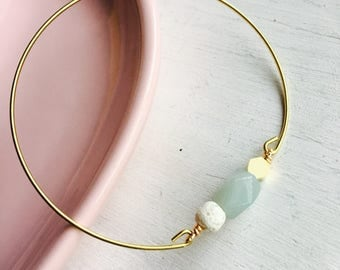 Lava and amazonite bangle, essential oil bracelet, delicate modern jewelry