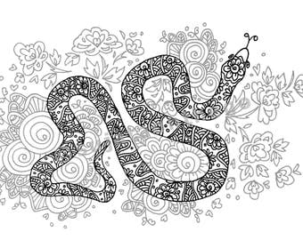 zentangle snake printable coloring page ~ animal - Instant Download only, Art Printable illustrations