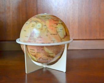 vintage 1970s replogle mars globe / midcentury office decor / vintage metal globe