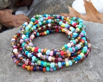 Stretch Stack Beaded Festival Bracelets, Colorful beaded bracelets, Boho, Hippie, Gypsy - 9 Stack bracelet set