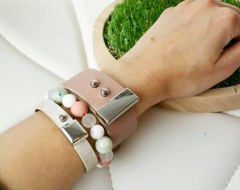 Leather and beads bracelet set