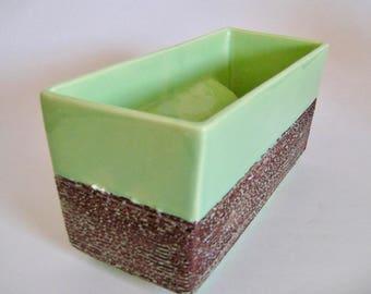 Vintage Bishop California Art Pottery Lime Green w/Raked Glaze Mid Century