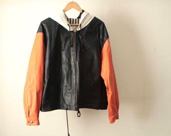 vintage SEINFELD leather baller color BLOCK 90s PARKA hoodie jacket