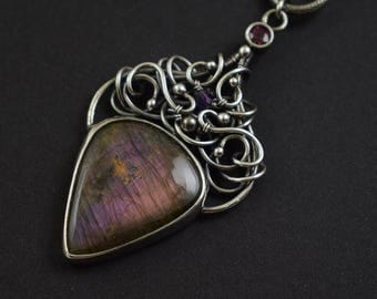 Purple labradorite necklace, wire wrap necklace, bold statement  jewelry, sterling silver necklace