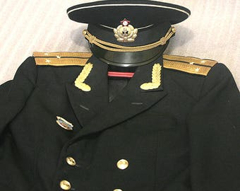 Soviet military uniform - Russian Navy officer Blazer - 1970s - 1980s. Marine jacket and cap - from Russia / Soviet Union / USSR