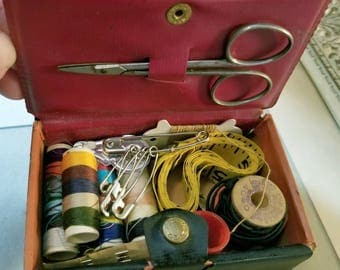 Vintage Travel Tapestry Sewing Set Kit with a Picture of Immaculate Heart of Mary