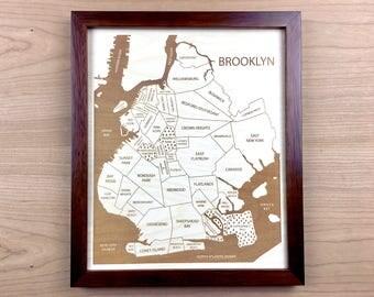 Brooklyn New York Neighborhood Map, Brooklyn Art, NYC Neighborhoods, Laser Cut Map Art Christmas Gift for Bestfriend, Etched Wall Hanging