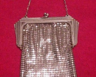 Vintage 1920's Silver Metal Mesh Flapper Purse by Whiting & Davis