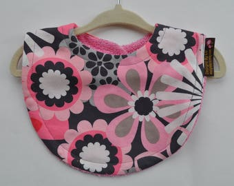 Baby Girl Terry Cloth Snap Bibs, Grey Gray and Pink Flowers