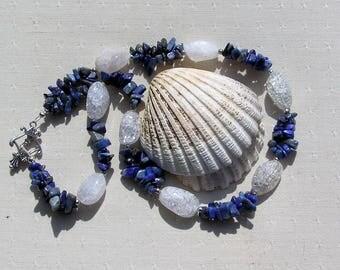 """Lapis Lazuli & Crackled Clear Quartz Crystal Gemstone Necklace """"Kheshed Dawn"""", Lapis Lazuli Necklace, Quartz Necklace, Chakra, Blue Necklace"""