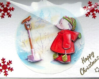 Christmas Card, Happy Christmas Hand Crafted 3D Decoupage Card, Happy Christmas (1895), Layered Card, Xmas Card