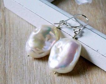 Ivory Keshi Pearl Earrings White Freshwater Pearl Baroque Earrings Sterling Silver Bridesmaid Gift Bridal Jewelry Wedding Mother of Bride