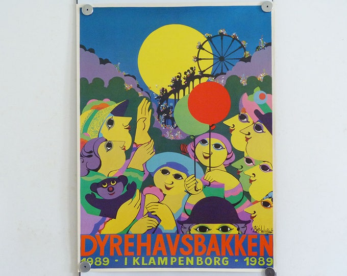 Bjorn Wiinblad original poster Dyrehavsbakken 1989 MCM