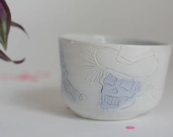 Old school tattoo tea bowl - Skull tattoo bowl - porcelain bowl
