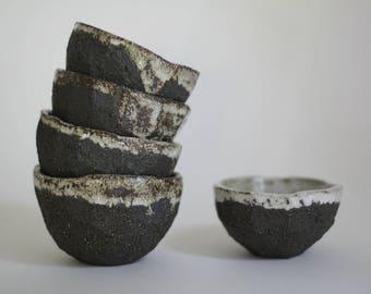 Dark brown faceted tea bowl, chawan
