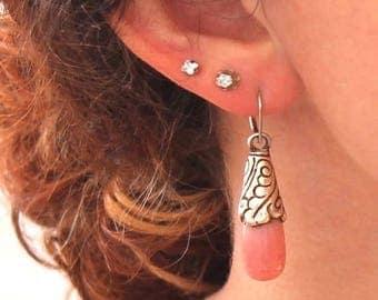 Summer Sale : ) Pink Peruvian Opal Sterling Earrings Teardrop Tibetan Style