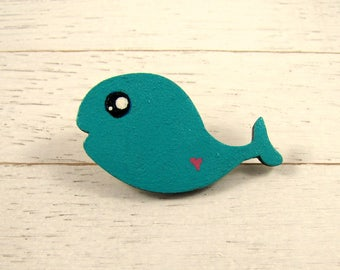 Whale Wood Pin