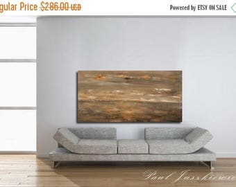 "17% OFF /ONE WEEK Only/ Sunset Storm abstract by Paul Juszkiewicz 24""x48"" minimalism brown beige seascape unique"