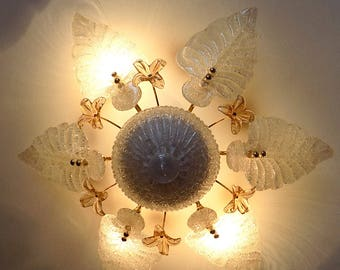 Vintage Murano glass ceiling lamp with flowers