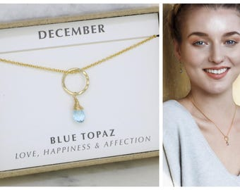 December birthstone necklace, blue topaz necklace for December birthday gift, dainty circle jewelry - Clare