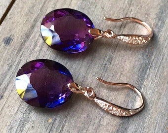 Alexandrite earrings.  Beautiful stones. Rose gold pave. Luxury jewelry. Gift for her
