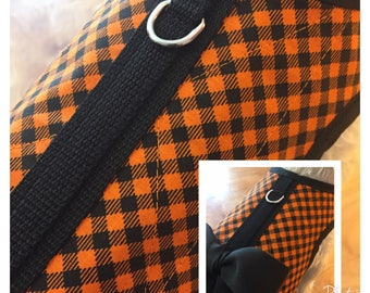 Halloween Check Small Dog Harness Made in USA, dog harness, dog harnesses