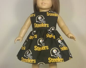 18 inch Doll Clothes Handmade Steelers Football Print Dress Fits American Girl Doll Clothes