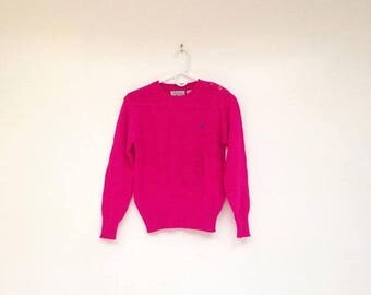 SALE Vintage 1970s Neon Pink Pheasant Hill Pullover Sweater