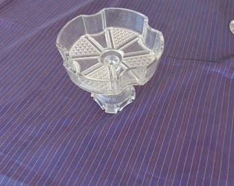 Candy Dish   Antique Pressed Glass Candy Dish on Pedestal.  Diamond designs  and four sided with four curves between