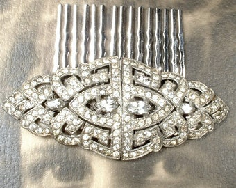 Original 1930s Hair Comb OR Bridal Sash Brooch, Vintage Art Deco Crystal Rhinestone Duette Dress Clip Gatsby Wedding Accessory Hairpiece