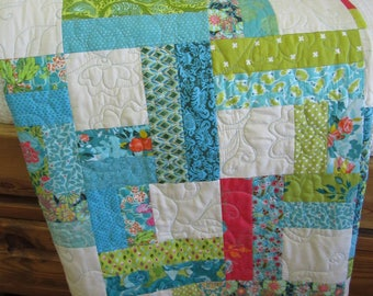 Homemade Quilt, Lap Quilt, Quilts, Handmade Quilt, Patchwork Quilt, Throw Quilt, Modern Quilt, Blue Green and Pink Quilt