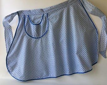 Vintage Cotton Print Apron, half, blue