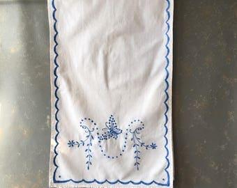 Vintage Embroidered Dresser Scarf, Runner, Blue white, floral, cotton