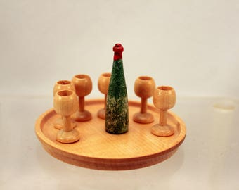 Vintage Miniature Wood Goblet Set on Tray w Wine Bottle Dollhouse Dishes
