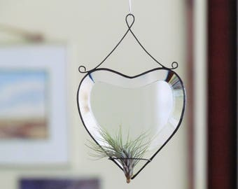 Air Plant Holder Stained Glass Heart Window or Wall Hanging Plant Holder Clear Black Wall Decor Gift Idea Made in Canada